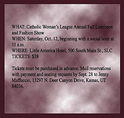Catholic Woman's League annual luncheon to be Oct. 12